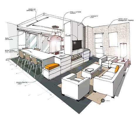 croquis cuisine cuisine ouverte sur salon blanc croquis architecture