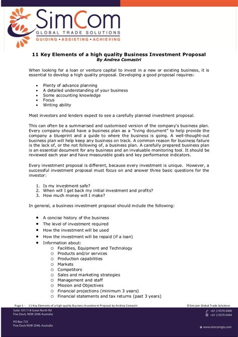 key elements   high quality business investment proposal