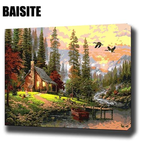 baisite diy framed oil painting  numbers landscape