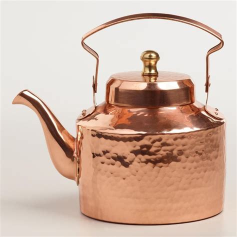Kitchen Living Tea Kettle by Crafted In India Of Solid Copper For Efficient Heat