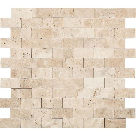 travertine mosaic shop anatolia tile ivory brick mosaic travertine wall tile common 12 in x 12 in actual 11 02