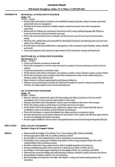 qa automation engineer resume sles velvet