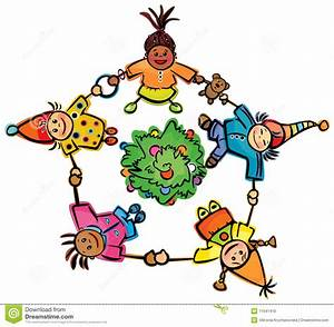 Happy Dancing Kids Around Tree Stock Vector Image 11641410