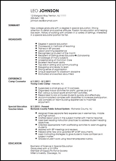 Duties Of A Special Education For Resume by Free Entry Level Special Education Resume Template