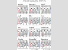 Calendar 2019 Australia printable pdf Free Printable PDF