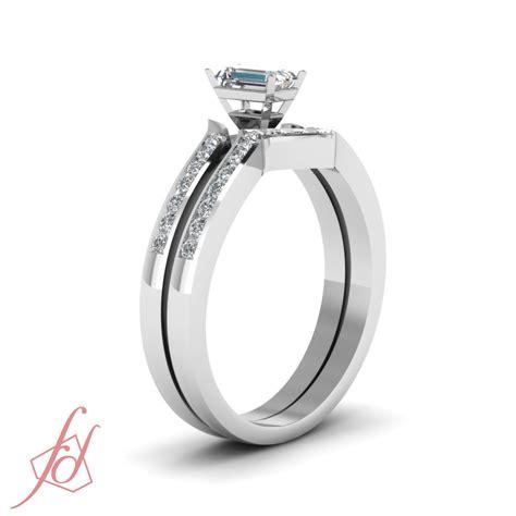 emerald cut  ct diamond cheap wedding rings set