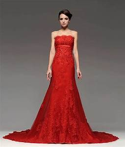 red strapless lace wedding dress sang maestro With red strapless wedding dresses