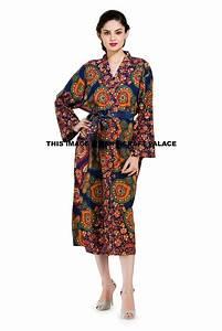 Indian Peacock Mandala Cotton Women's Gown Bath Robe w ...