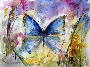Blue Butterfly Watercolor Painting by Ginette Callaway