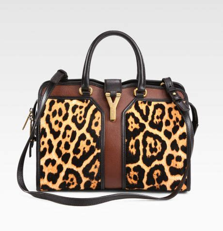 ysl cabas chic laurent ysl mini cabas chic mixedmedia satchel in brown leopard print lyst