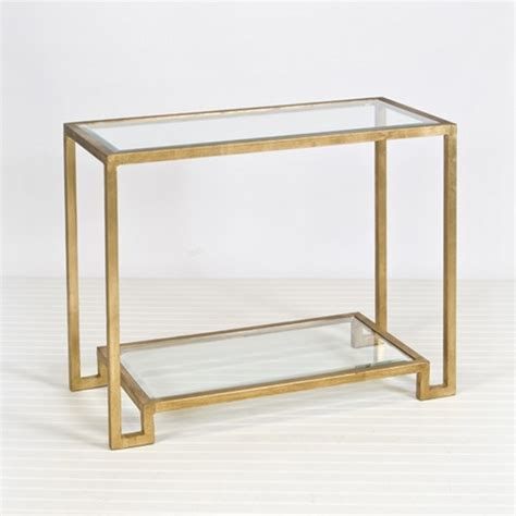 glass console table with shelf glam lyle double shelf glass console