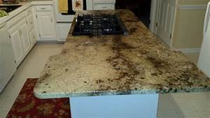 Granite Kitchen Island Countertop With Gas Glass Cooktop