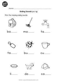 phonics worksheets  kindergarten english schematic