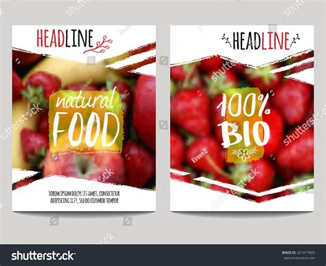 Flyer Brochure Design Template Abstract Fruit Stock Vector Vector Brochure Design Template Blur Background Stock