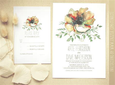 colorful watercolor flower wedding invitation