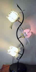 mid century modern lg 40quot lotus flower 3 way floor table With glass petal floor lamp