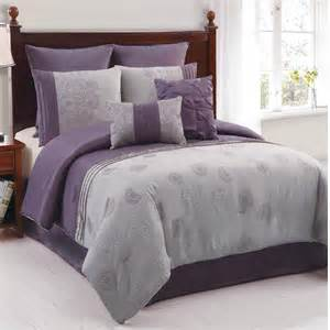 amelle purple grey 8 piece king comforter bed in a bag set new ebay