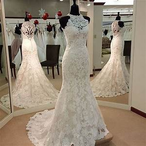 h1499 elegant halter high neck lace mermaid wedding dress With high neck lace wedding dress