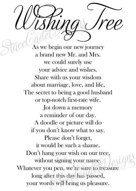 custom printable wedding wishing tree sign