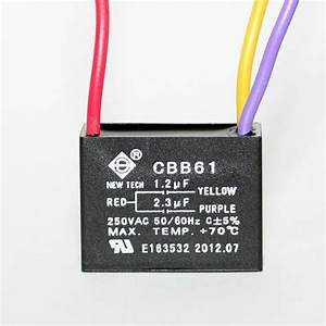Ceiling Fan Capacitor Cbb61 1 2uf 2 3uf 3 Wire Ul Listed