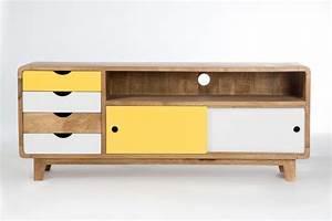 Meuble tv inspiration scandinave 4 tiroirs 2 portes for Idee deco cuisine avec meuble tv esprit scandinave