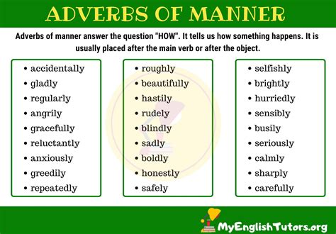 The clause can modify or describe verbs, adverbs, and adjectives.in general, adverb clauses add information that elaborates on when, where, why, how, how much or under what condition the action in the sentence takes place. Adverbs of Manner   English vocabulary words, Adverbs, Vocabulary words
