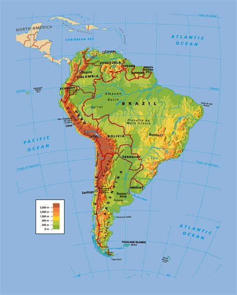physical map of south america roundtripticket me