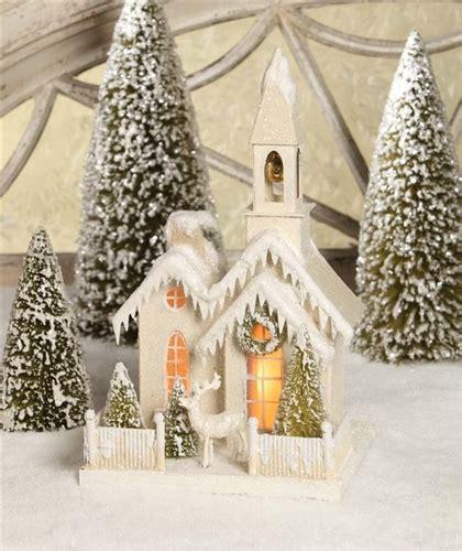 glitter church christmas cardboard church bethany lowe