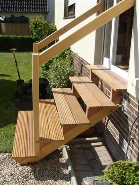 Wooden Handrails For Outdoor Steps - outdoor wooden stairs giving unique warm look to modern