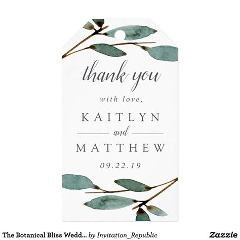 The Botanical Bliss Wedding Collection Gift Tags Zazzle