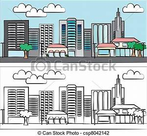 Vector Illustration of City illustration in color and in ...