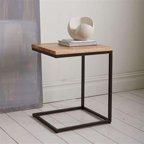 west elm end table box frame c base side table rustic mango antique bronze