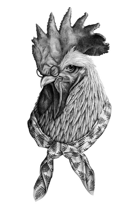 Clever Rooster tattoo sketch | Best Tattoo Ideas Gallery