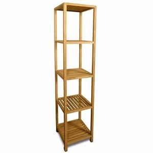 etagere en teck colonne de salle de bains 180 cm achat With colonne salle de bain en teck