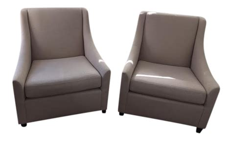 west elm slope arm club chairs a pair chairish