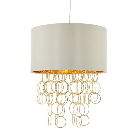 shade with hoops ivory gold pendant ceiling light