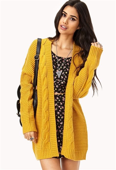 yellow cardigan sweater forever 21 longline mixed knit cardigan in yellow lyst