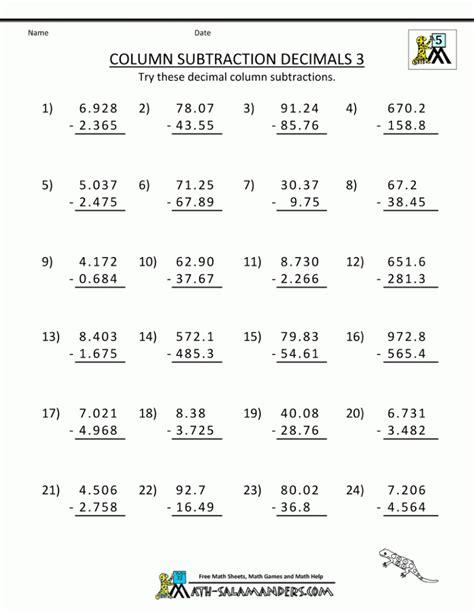 adding and subtracting decimals worksheet addition