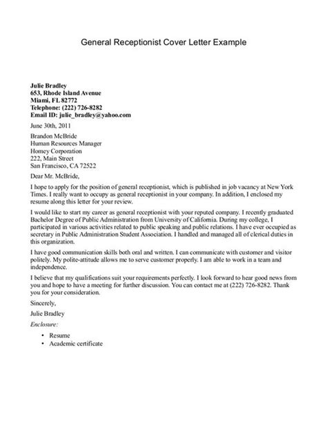Resume Cover Letter Veterinary Receptionist by Receptionist Cover Letter Exle Http Jobresumesle