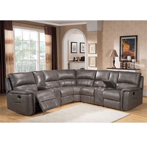 catnapper furniture cortez premium top grain gray leather reclining sectional