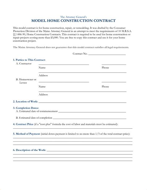 Contract Template Construction Agreement Forms