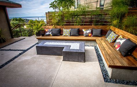 built in bench seating modern patio san diego by