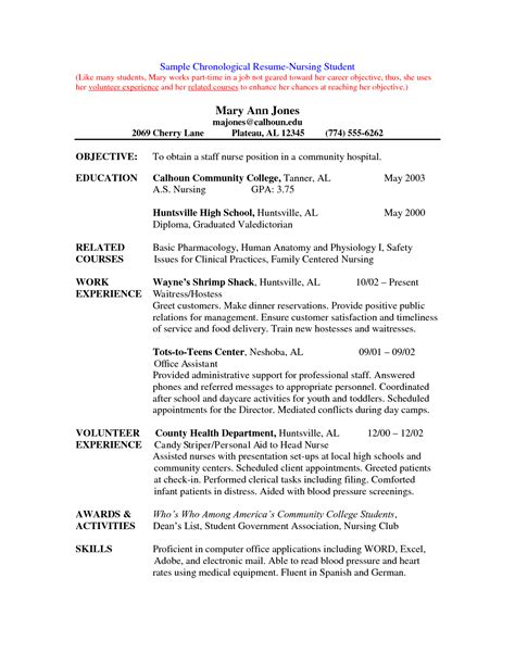 clinical resumes sample nursing student resume clinical experience resume