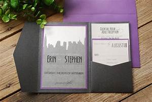 wedding invitation new york skyline purple and black with With wedding invitations cheap nyc