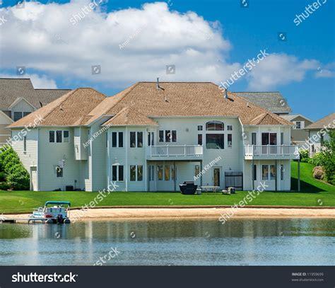 luxury lakeside summer home in michigan usa stock photo