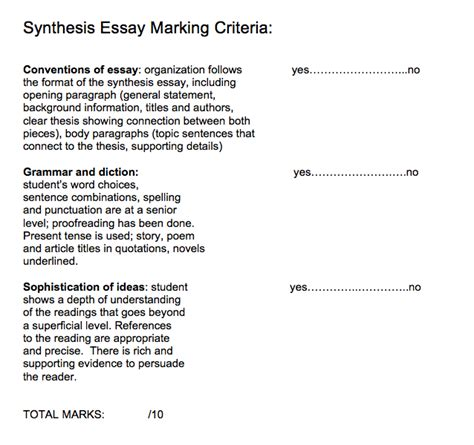 Synthesis for thesis