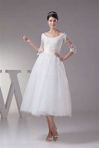 buy cheap tea length tulle wedding dresses with sleeves With tea length tulle wedding dress