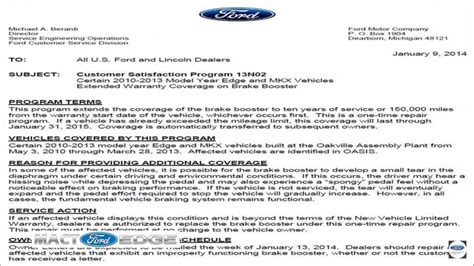 ford edge faulty brake booster  complaints