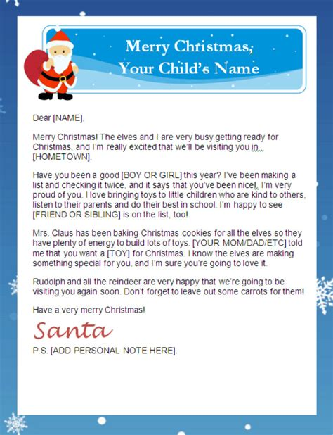 printable santa letters personalized printable letters