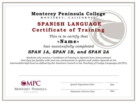 certificate  training  spanish monterey peninsula